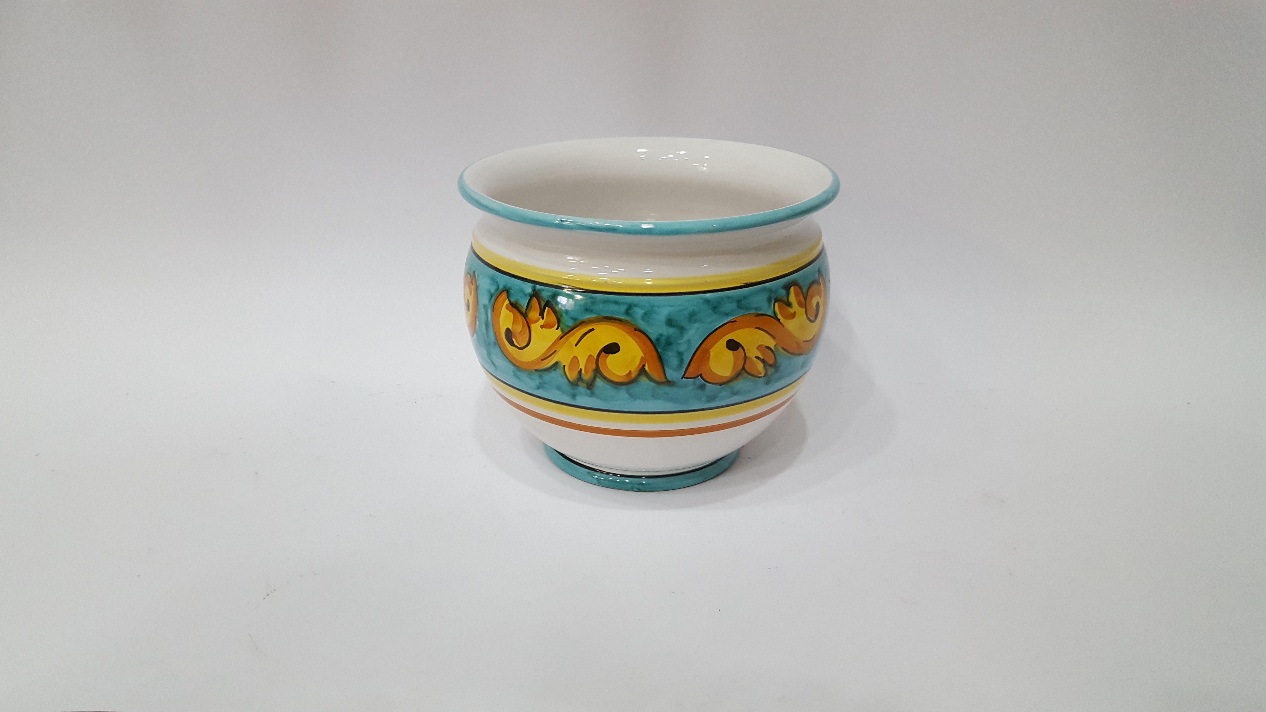 Caspò portapiante arte in ceramica vietrese