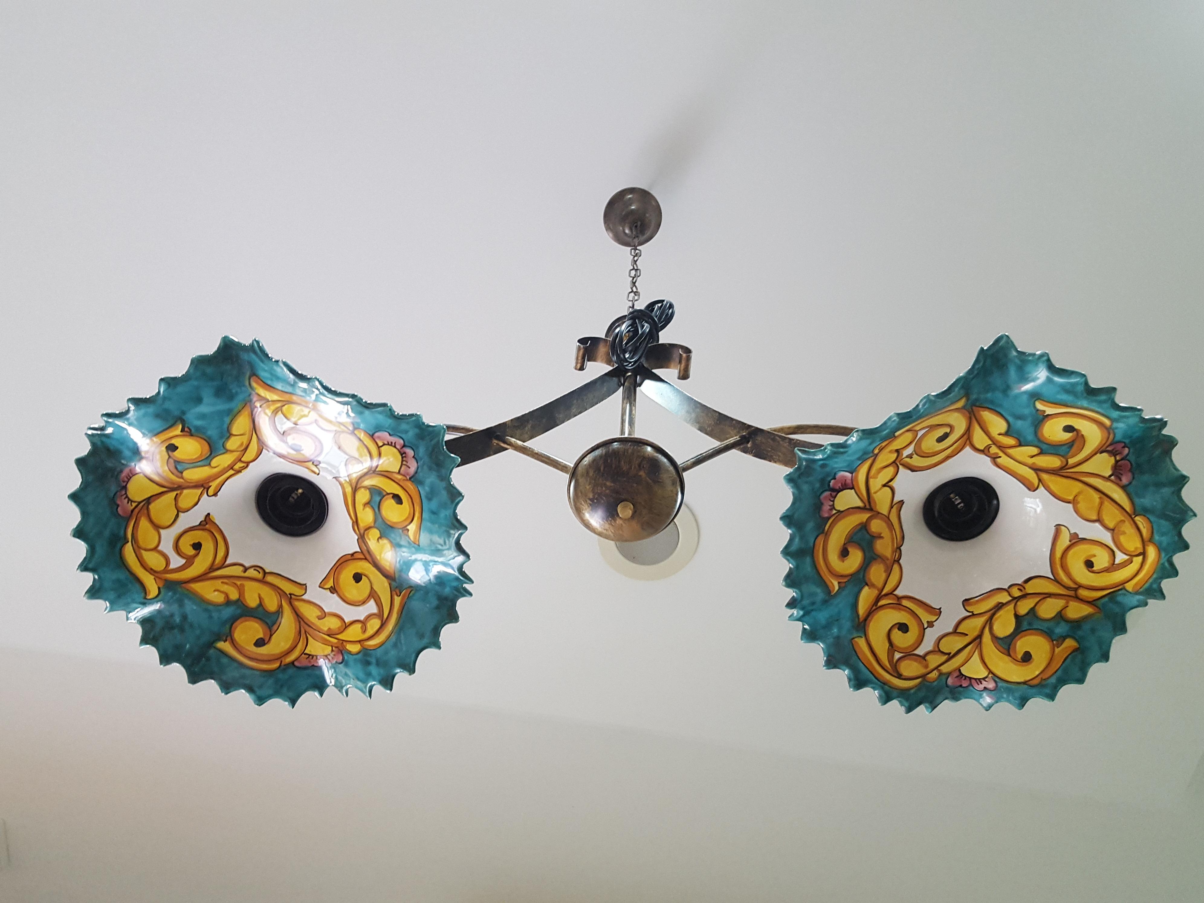 Lampadario Ceramica Di Vietri.Lampadario Arte In Ceramica Vietrese