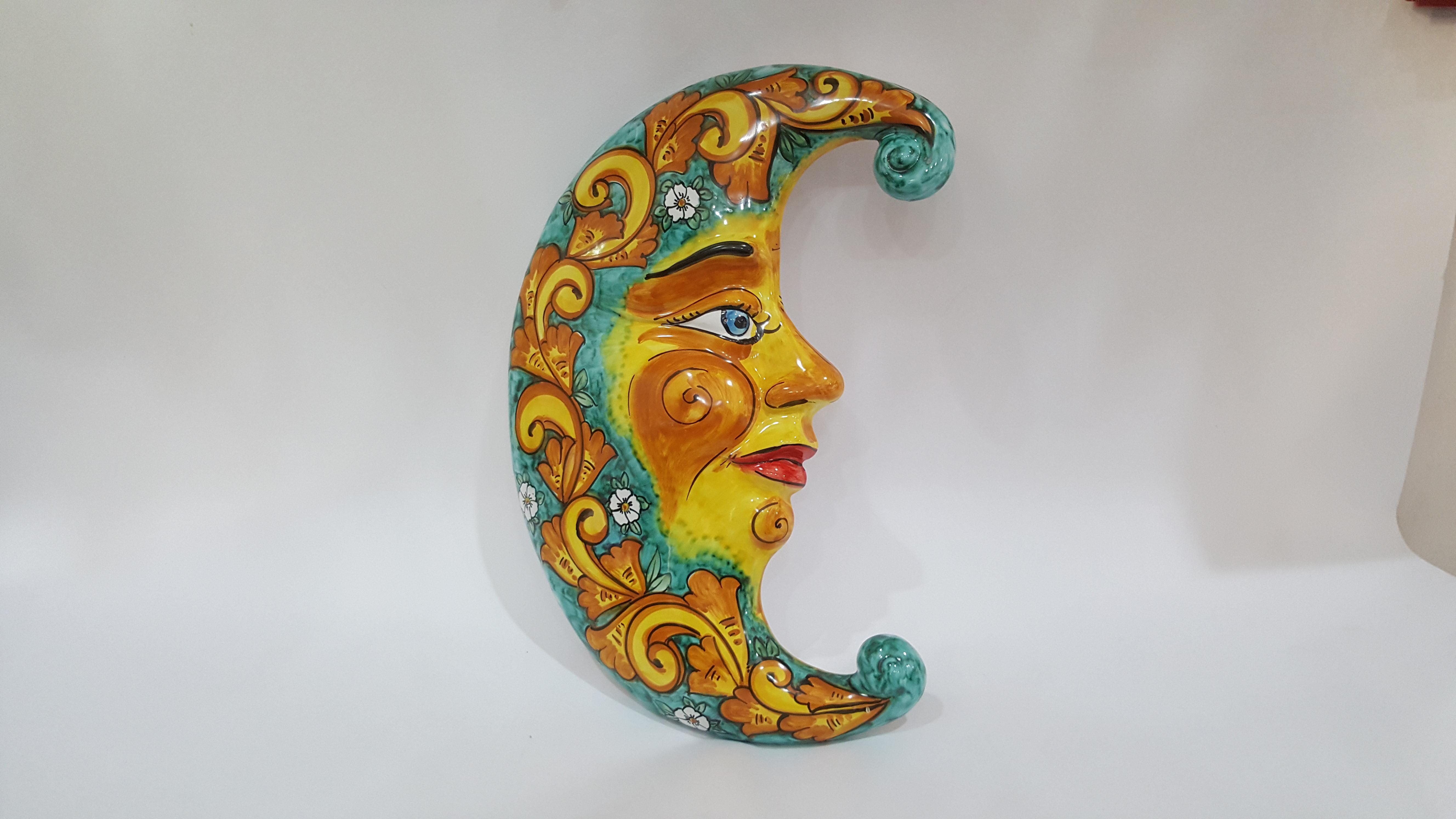Sole e luna da appendere arte in ceramica vietrese for Oggetti da appendere