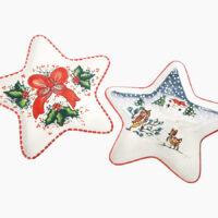 Piatto natalizio Stella di Natale - L'Arte in Ceramica Vietrese