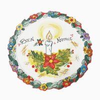 Piatto torta con fiori natalizi - L'Arte in Ceramica Vietrese