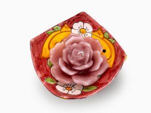 COPPETTA A PUNTA CON CANDELA FIORE- L'Arte in Ceramica Vietrese